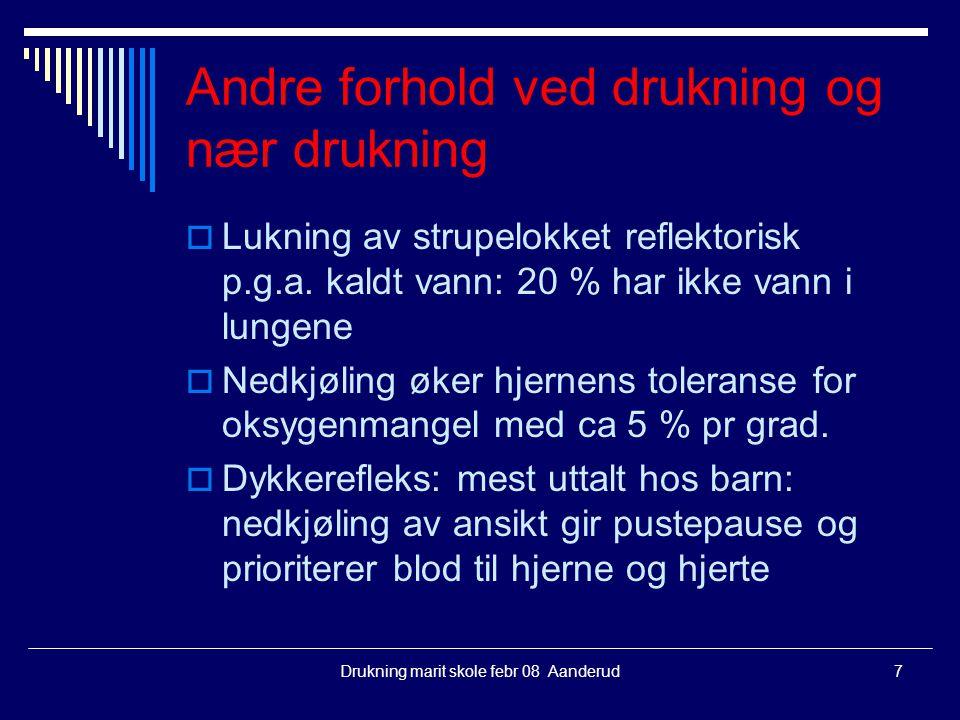 Andre forhold ved drukning og nær drukning