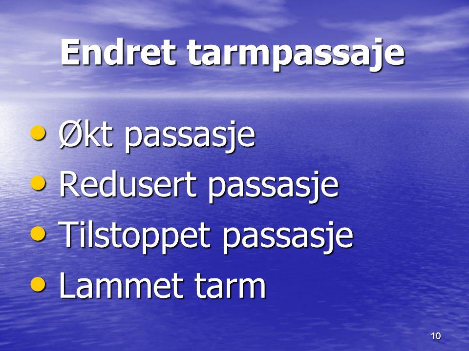 Endret tarmpassaje Økt passasje Redusert passasje Tilstoppet passasje Lammet tarm