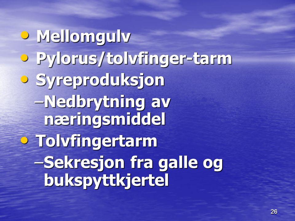 Mellomgulv Pylorus/tolvfinger-tarm Syreproduksjon