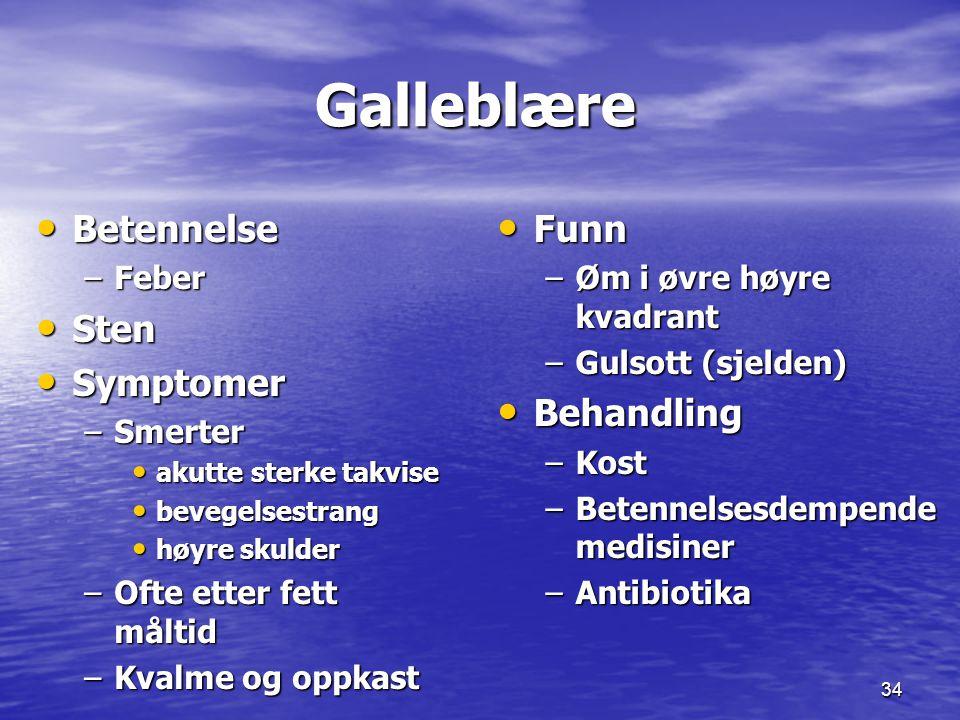 Galleblære Betennelse Sten Symptomer Funn Behandling Feber Smerter