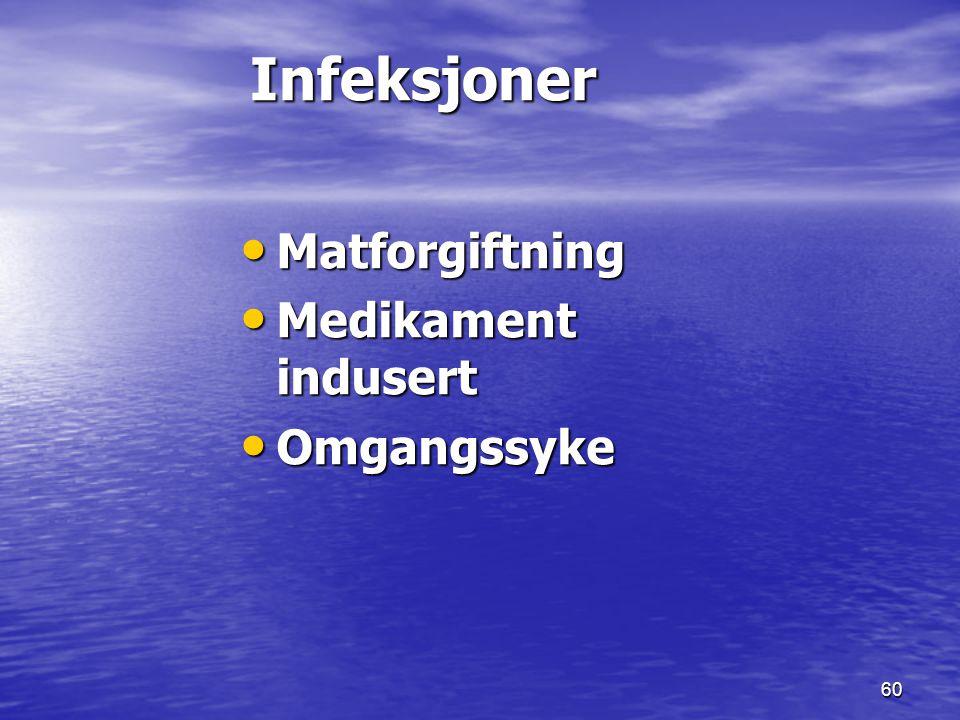 Infeksjoner Matforgiftning Medikament indusert Omgangssyke 17.09.1999