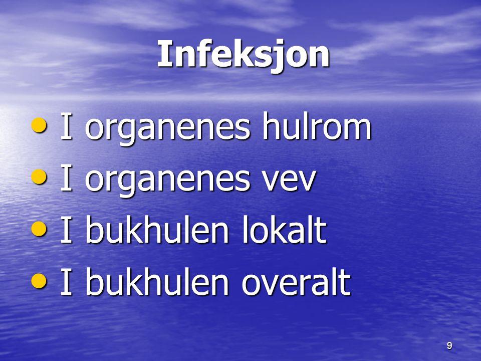 Infeksjon I organenes hulrom I organenes vev I bukhulen lokalt I bukhulen overalt