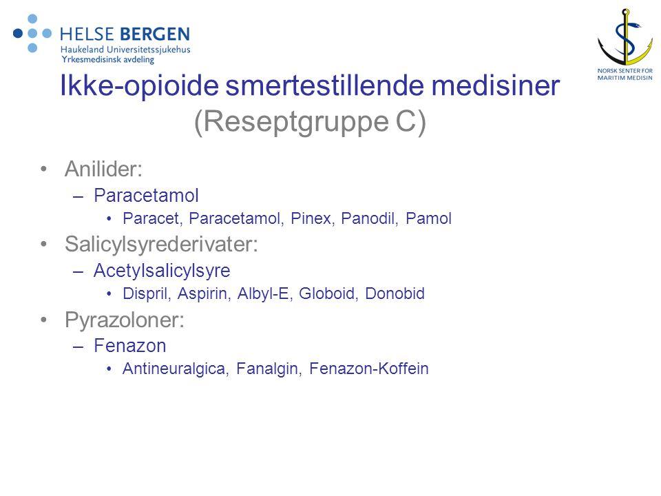 Ikke-opioide smertestillende medisiner (Reseptgruppe C)