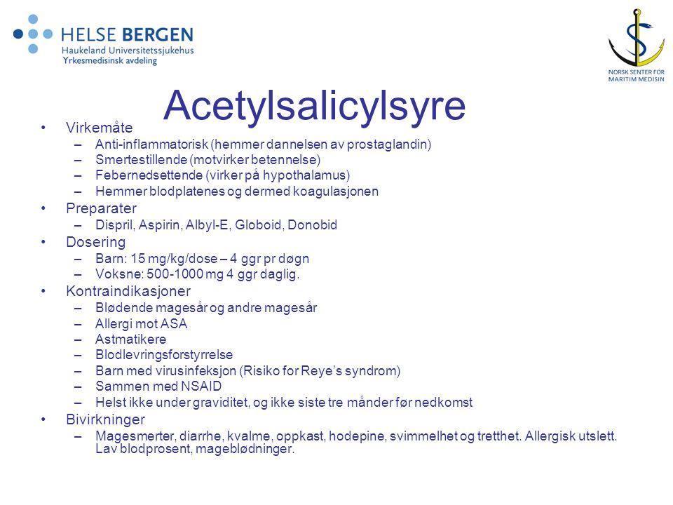 Acetylsalicylsyre Virkemåte Preparater Dosering Kontraindikasjoner