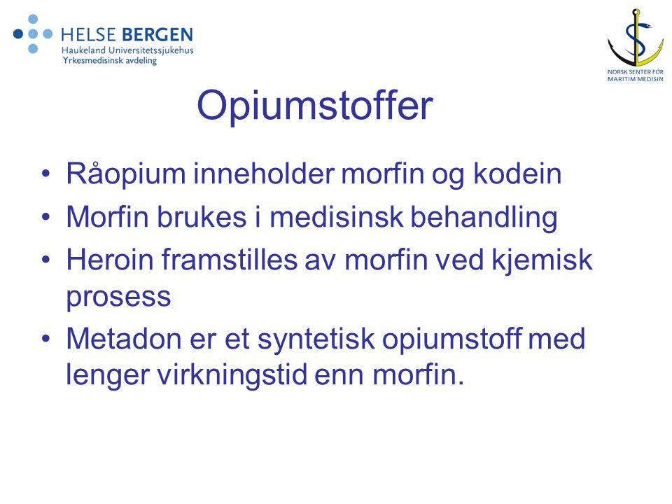 Opiumstoffer Råopium inneholder morfin og kodein