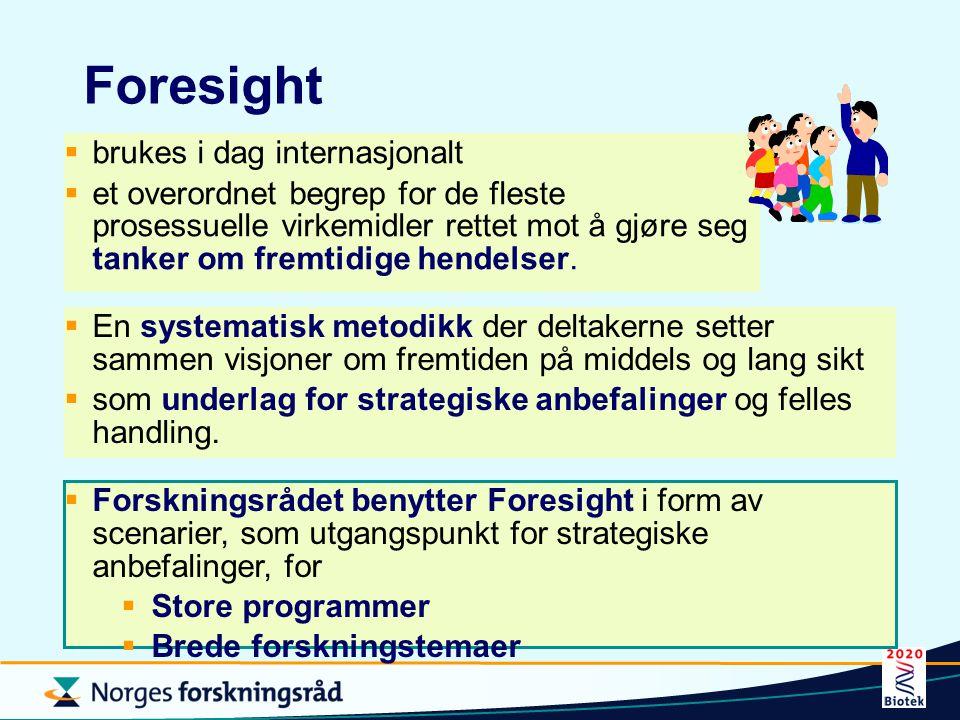 Foresight brukes i dag internasjonalt