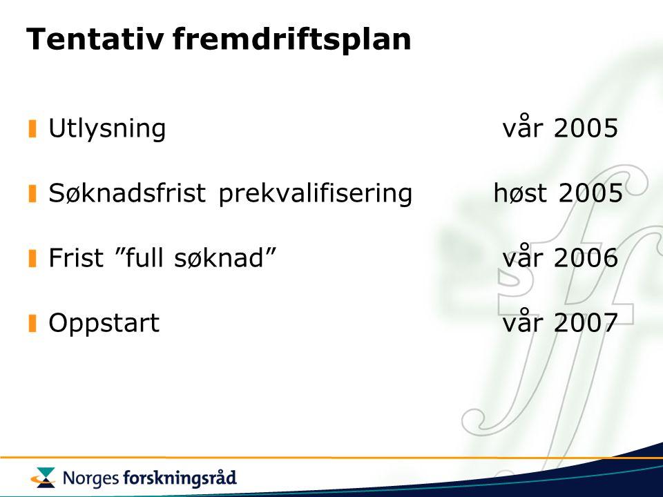 Tentativ fremdriftsplan