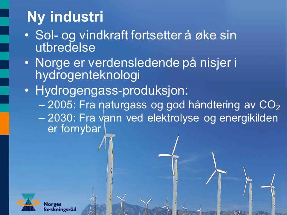 Ny industri Sol- og vindkraft fortsetter å øke sin utbredelse