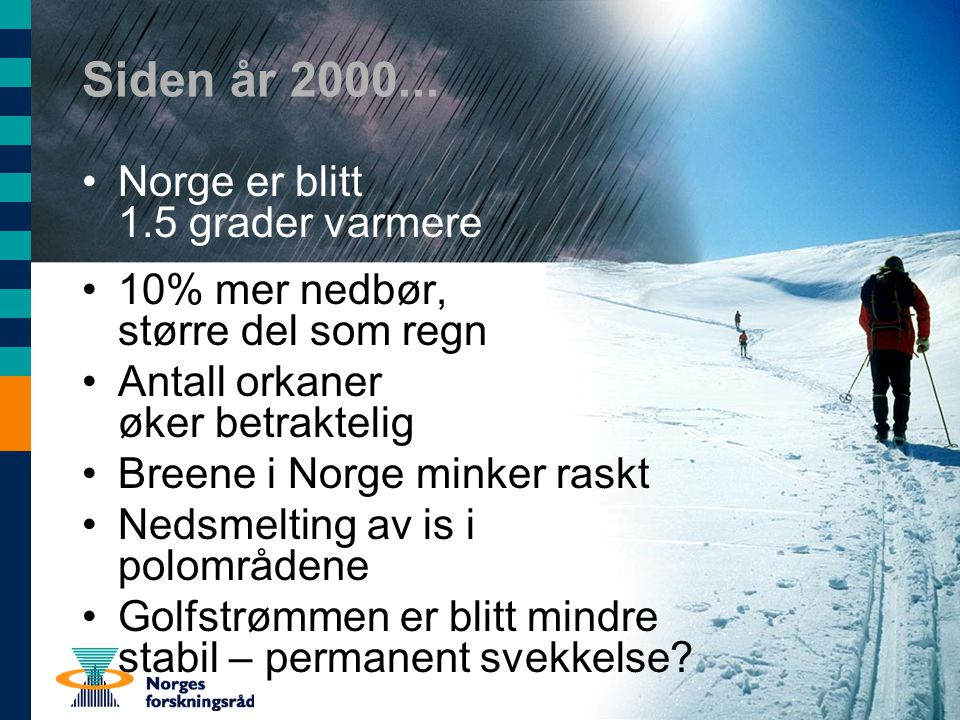 Siden år 2000... Norge er blitt 1.5 grader varmere