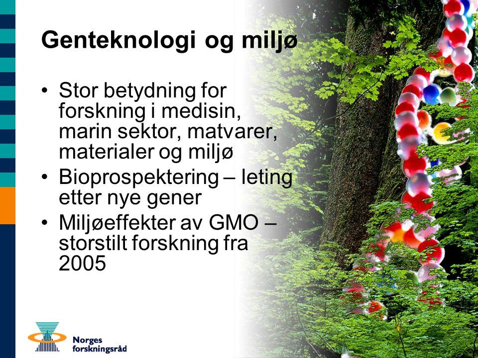 Genteknologi og miljø Stor betydning for forskning i medisin, marin sektor, matvarer, materialer og miljø.