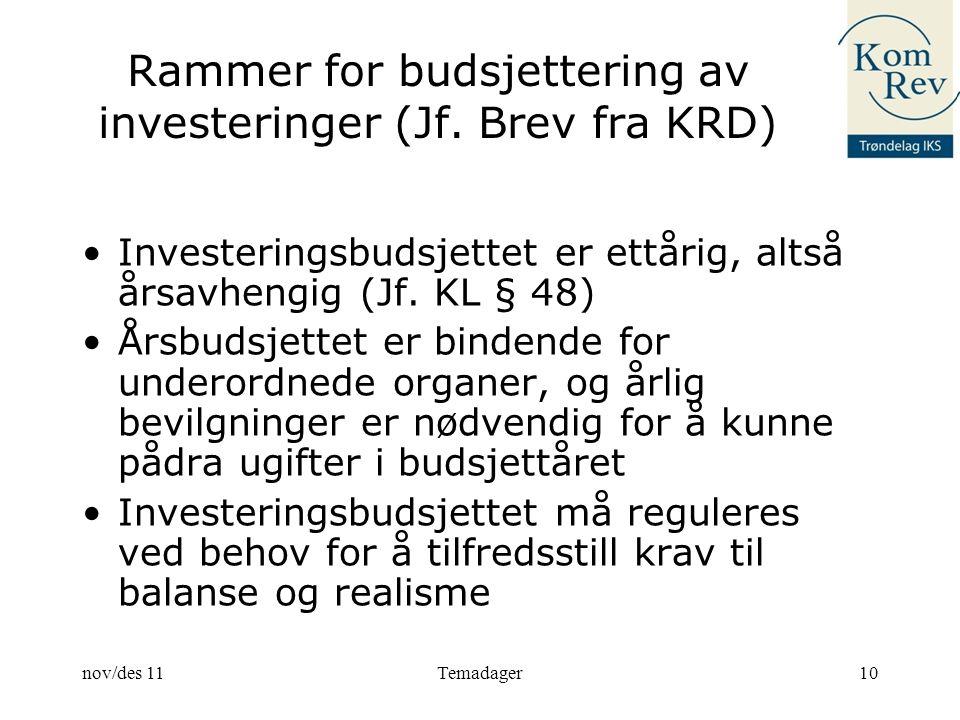 Rammer for budsjettering av investeringer (Jf. Brev fra KRD)