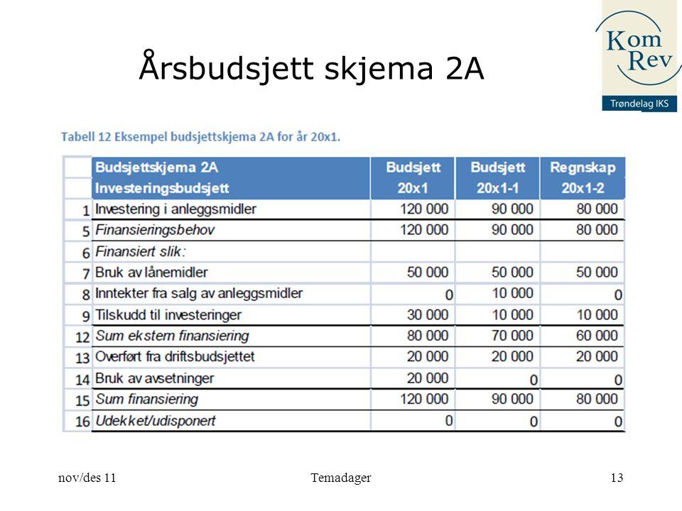 Årsbudsjett skjema 2A nov/des 11 Temadager