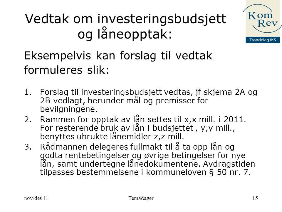 Vedtak om investeringsbudsjett og låneopptak: