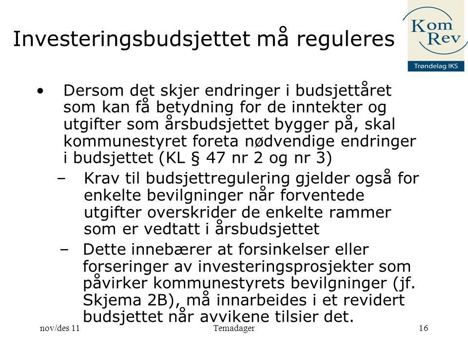 Investeringsbudsjettet må reguleres