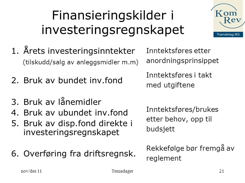 Finansieringskilder i investeringsregnskapet