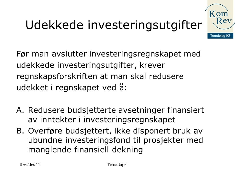 Udekkede investeringsutgifter