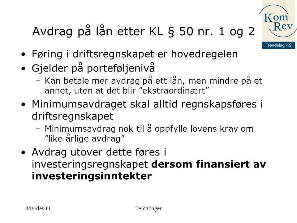 Avdrag på lån etter KL § 50 nr. 1 og 2