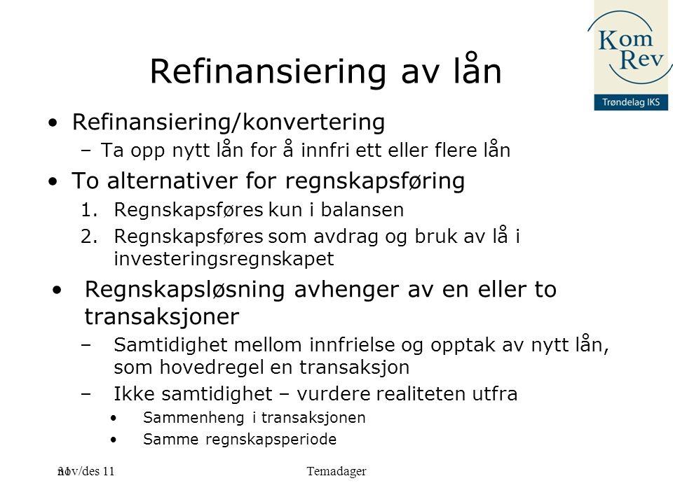 Refinansiering av lån Refinansiering/konvertering
