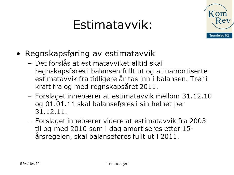 Estimatavvik: Regnskapsføring av estimatavvik