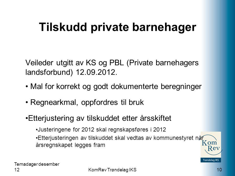 Tilskudd private barnehager