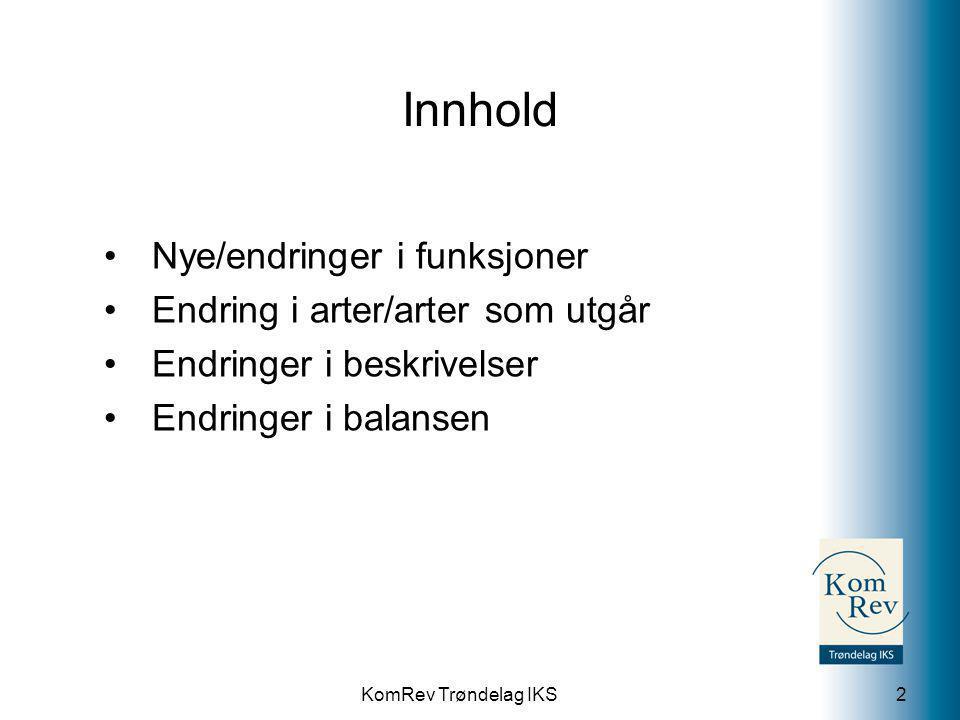 Innhold Nye/endringer i funksjoner Endring i arter/arter som utgår