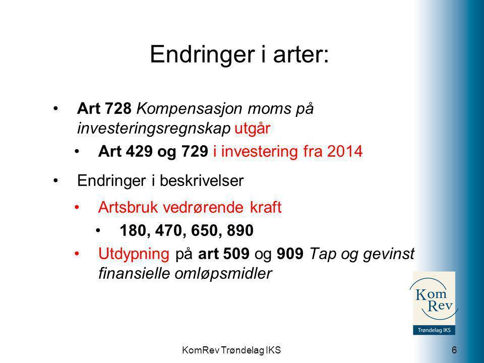 Endringer i arter: Art 728 Kompensasjon moms på investeringsregnskap utgår. Art 429 og 729 i investering fra 2014.