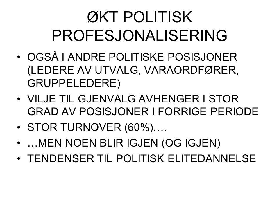ØKT POLITISK PROFESJONALISERING