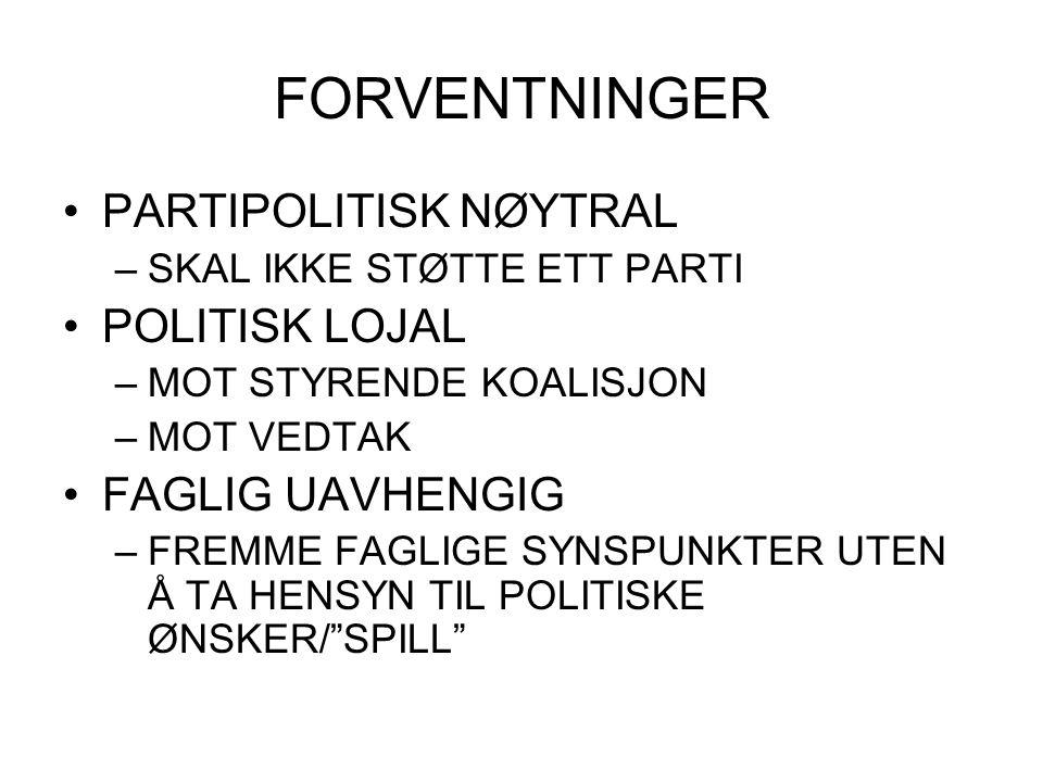 FORVENTNINGER PARTIPOLITISK NØYTRAL POLITISK LOJAL FAGLIG UAVHENGIG