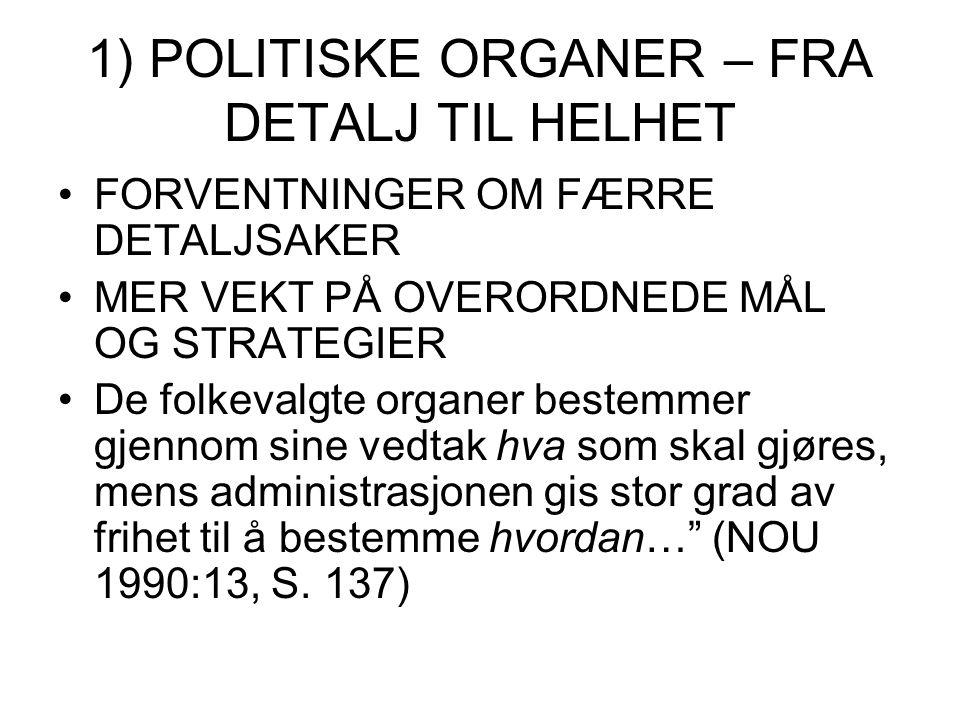 1) POLITISKE ORGANER – FRA DETALJ TIL HELHET