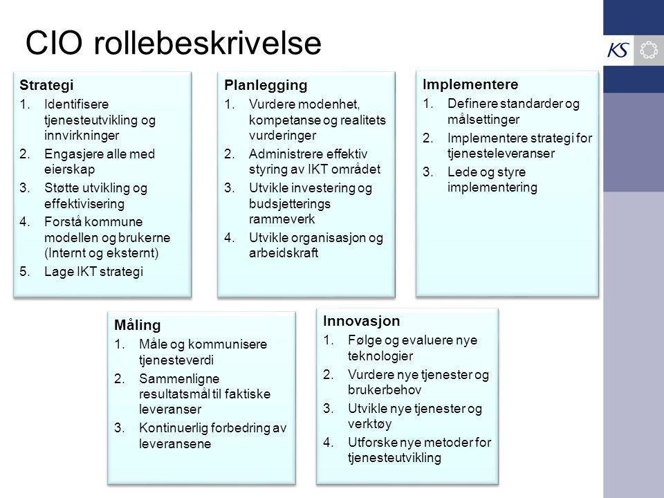 CIO rollebeskrivelse Strategi Planlegging Implementere Måling