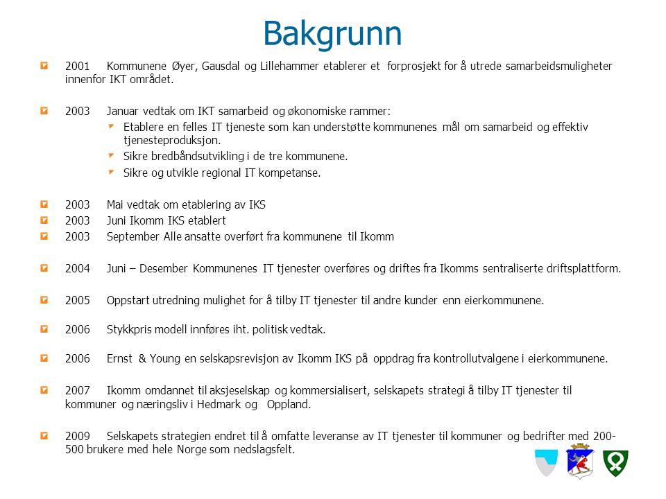 Bakgrunn 2001 Kommunene Øyer, Gausdal og Lillehammer etablerer et forprosjekt for å utrede samarbeidsmuligheter innenfor IKT området.