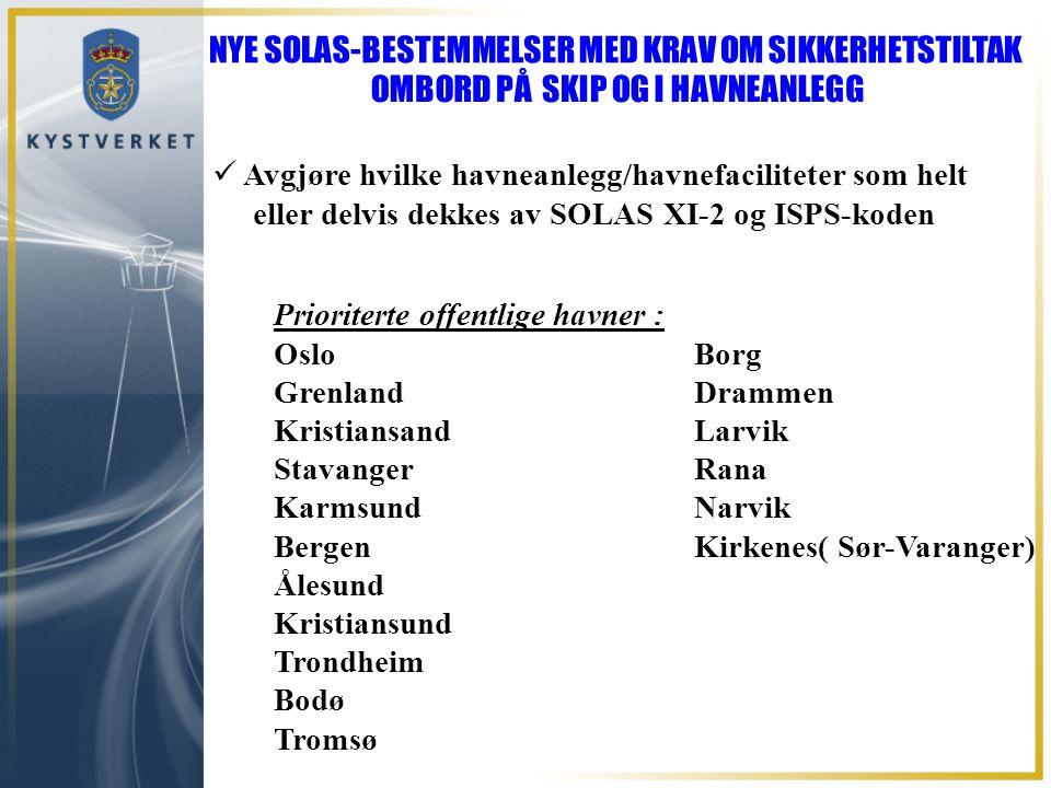 Prioriterte offentlige havner : Oslo Borg Grenland Drammen