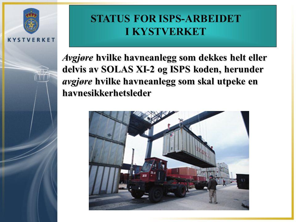 STATUS FOR ISPS-ARBEIDET
