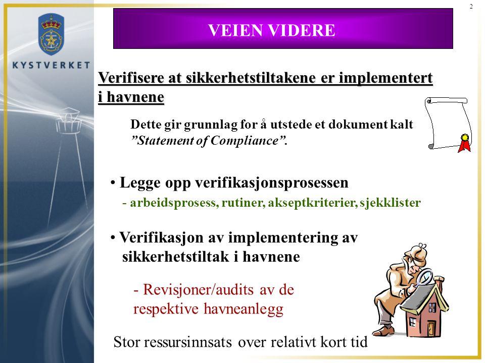 2 VEIEN VIDERE. Verifisere at sikkerhetstiltakene er implementert i havnene.