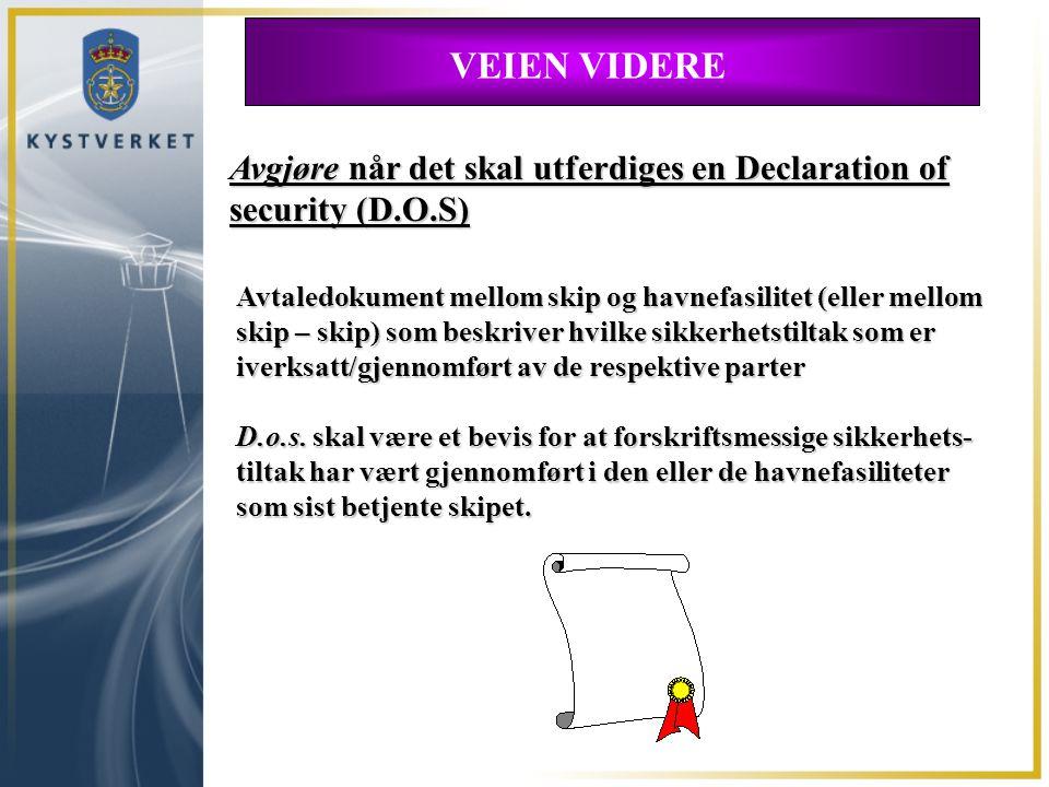 VEIEN VIDERE Avgjøre når det skal utferdiges en Declaration of security (D.O.S)