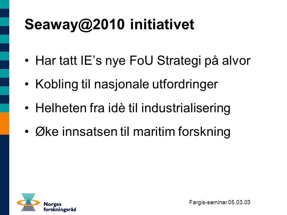 Seaway@2010 initiativet Har tatt IE's nye FoU Strategi på alvor