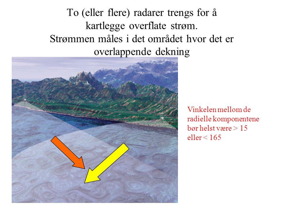 To (eller flere) radarer trengs for å kartlegge overflate strøm