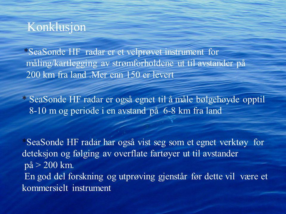 Konklusjon *SeaSonde HF radar er et velprøvet instrument for