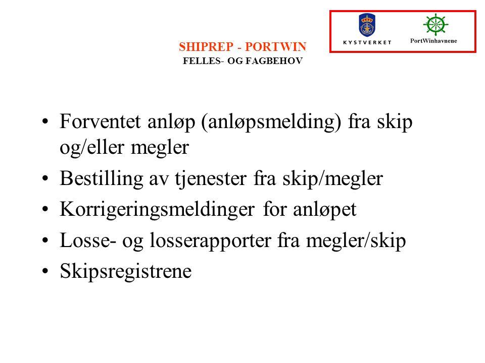SHIPREP - PORTWIN FELLES- OG FAGBEHOV