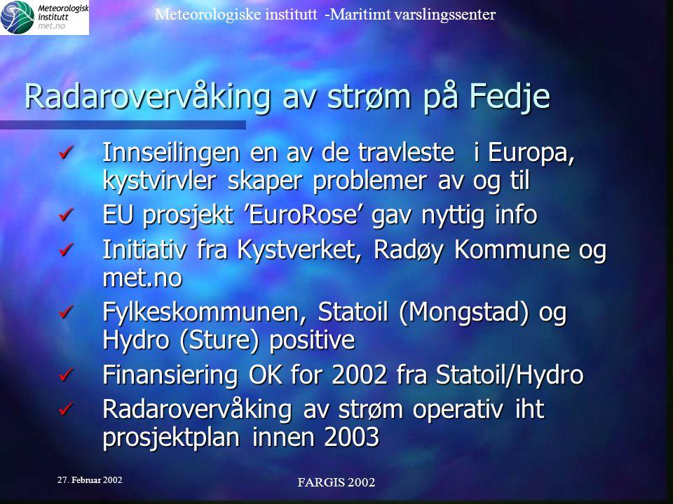 Radarovervåking av strøm på Fedje
