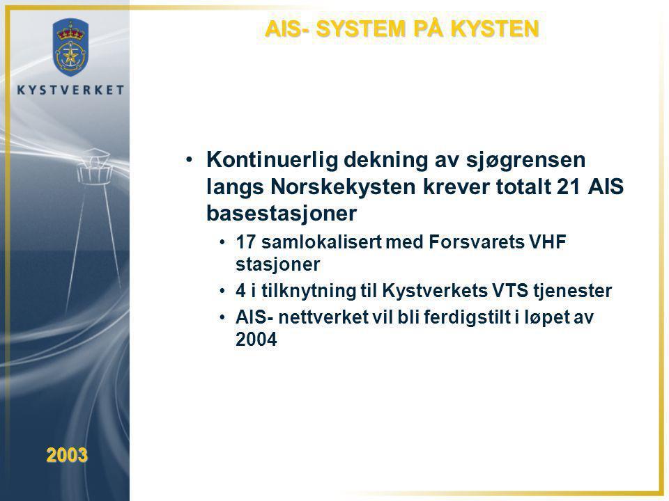 AIS- SYSTEM PÅ KYSTEN Kontinuerlig dekning av sjøgrensen langs Norskekysten krever totalt 21 AIS basestasjoner.