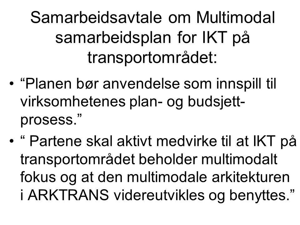 Samarbeidsavtale om Multimodal samarbeidsplan for IKT på transportområdet: