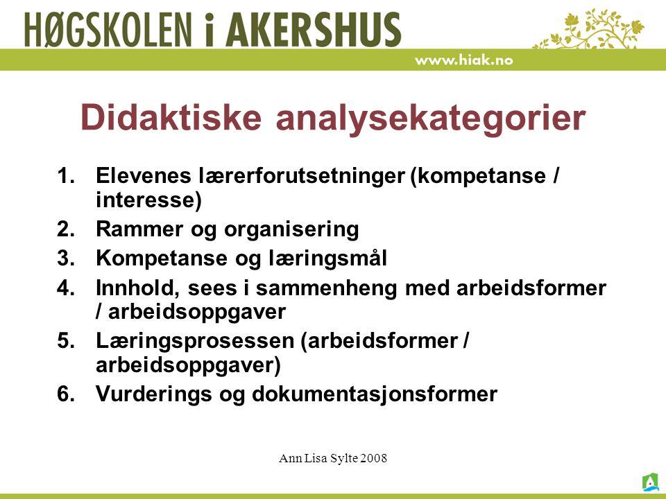 Didaktiske analysekategorier