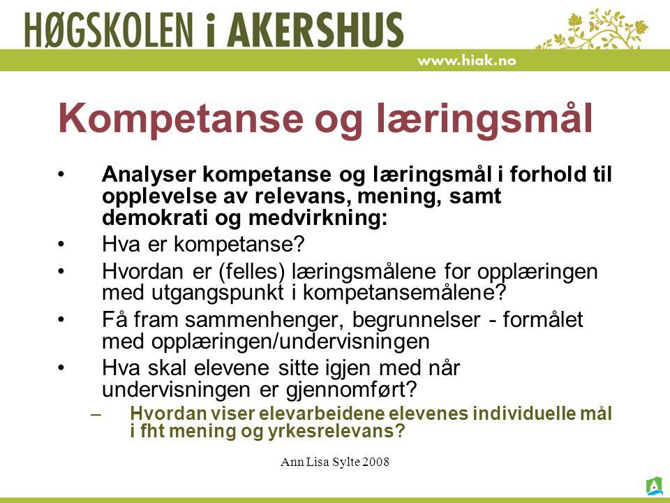 Kompetanse og læringsmål