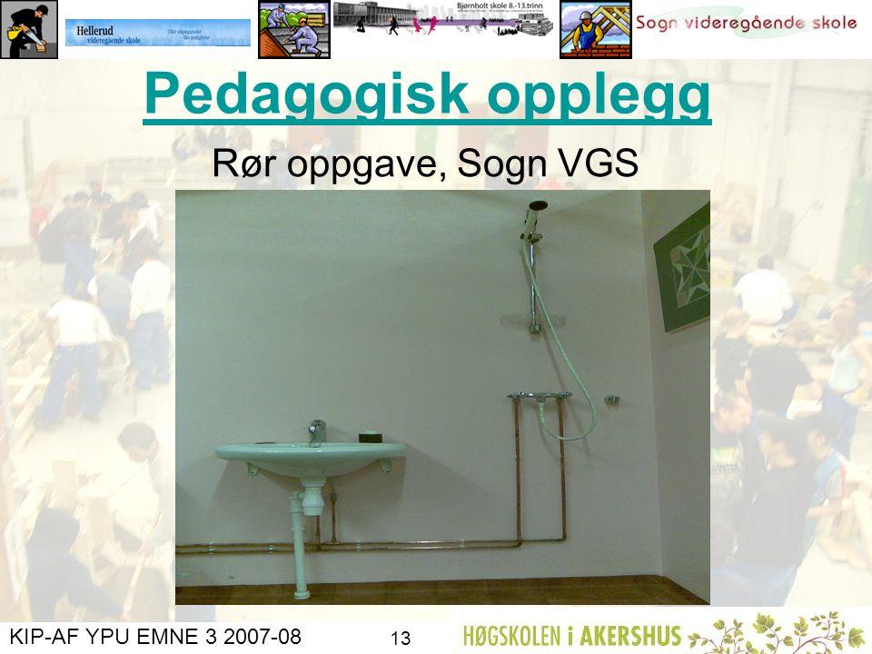 Pedagogisk opplegg Rør oppgave, Sogn VGS