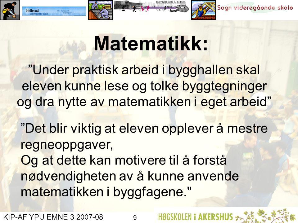 Matematikk: Under praktisk arbeid i bygghallen skal eleven kunne lese og tolke byggtegninger og dra nytte av matematikken i eget arbeid