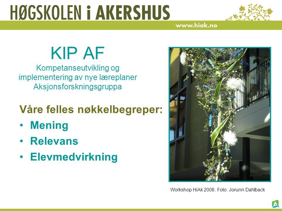 KIP AF Kompetanseutvikling og implementering av nye læreplaner Aksjonsforskningsgruppa