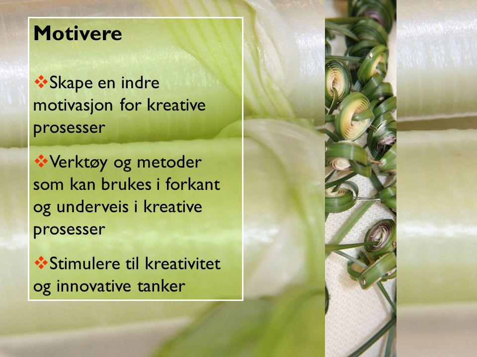 Motivere Skape en indre motivasjon for kreative prosesser