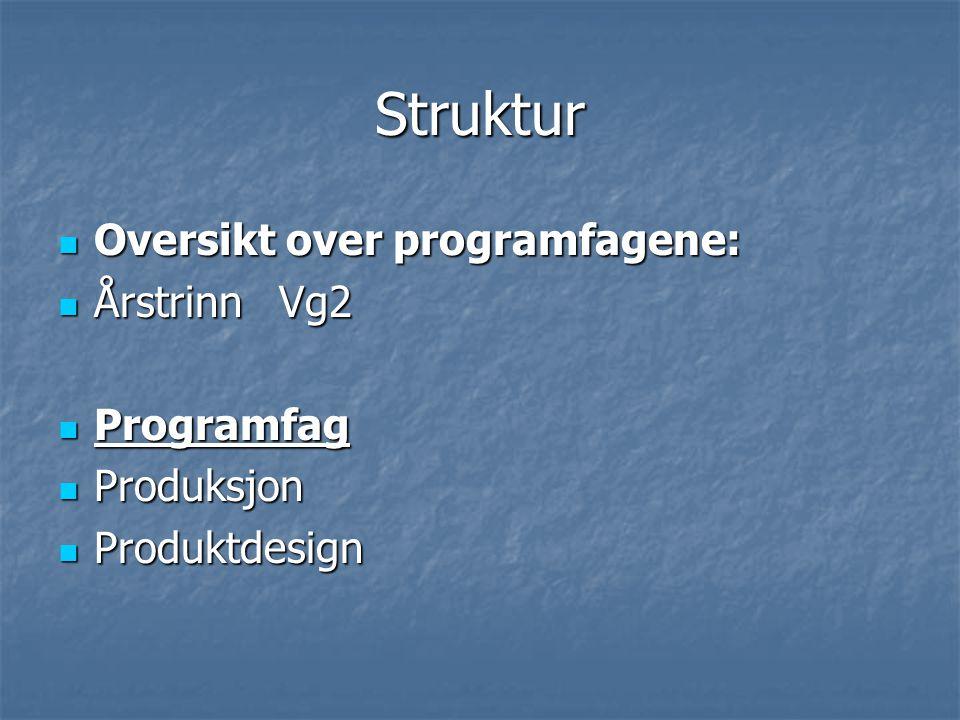Struktur Oversikt over programfagene: Årstrinn Vg2 Programfag