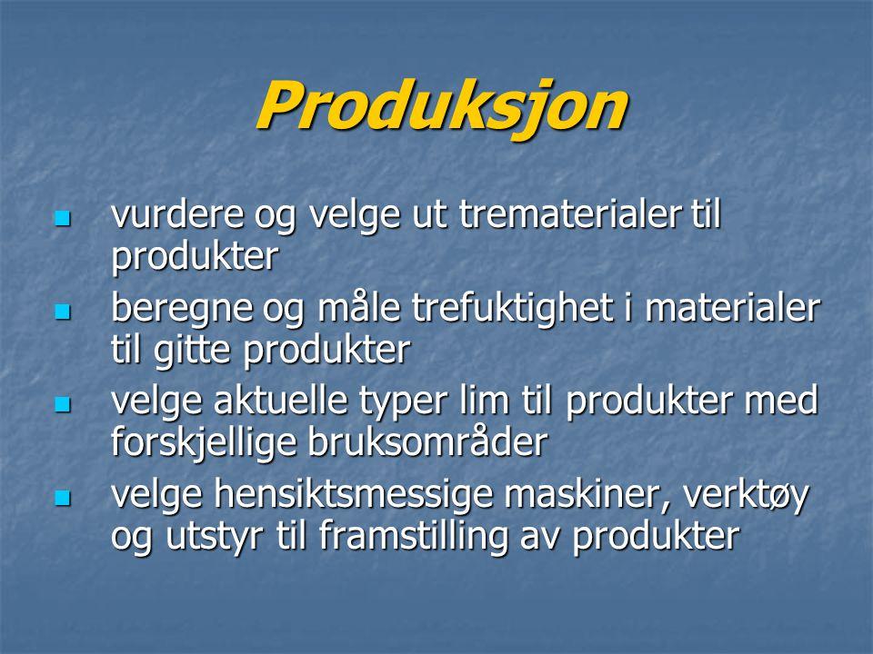 Produksjon vurdere og velge ut trematerialer til produkter